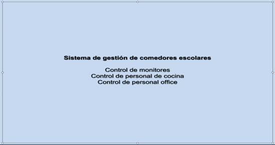 COMEDORES ESCOLARES. Control de monitores