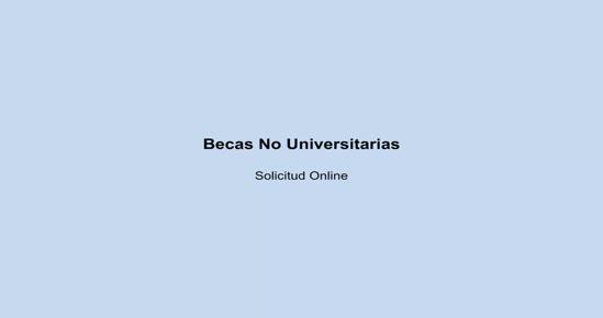 BECAS NO UNIVERSITARIAS. Solicitud Online