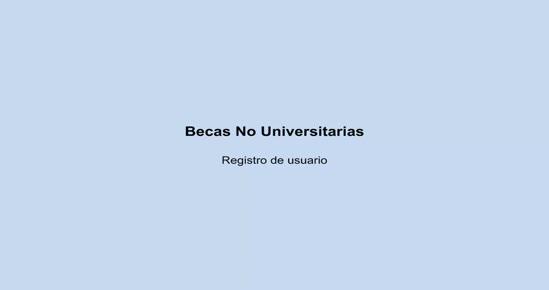 BECAS NO UNIVERSITARIAS. Registro de usuario